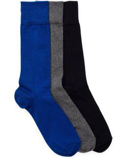 3-pair Solid Flat Knit Crew Socks