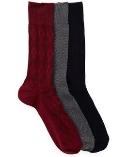 3-pair Textured Crew Socks