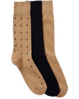 3-pair Diamond Neat Crew Socks