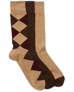 3-pair Diamond Crew Socks