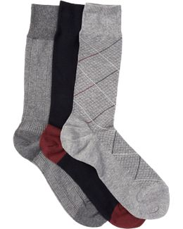 Modern Diamond Crew Socks - Pack Of 3