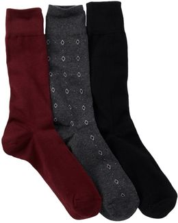 Neat Diamonds Crew Socks - Pack Of 3