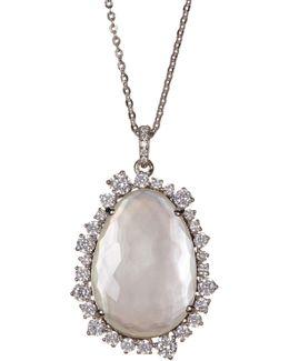 Oasis White Stone & Halo Set Crystal Pendant Necklace