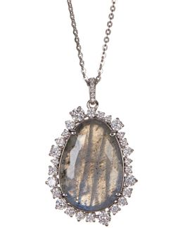 Oasis Pear Stone & Crystal Halo Pendant Necklace