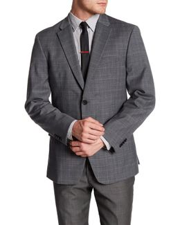 Grey Plaid Windowpane Two Button Notch Lapel Jacket
