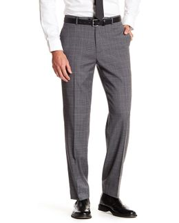 "Grey Windowpane Plaid Wool Blend Pant - 30-34"" Inseam"