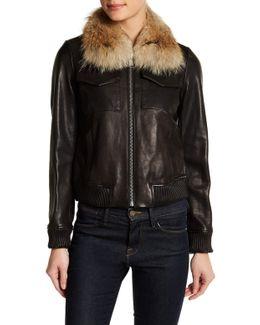 Detachable Genuine Coyote Fur Trim Genuine Leather Jacket