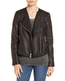 Riley Textured Genuine Leather Moto Jacket
