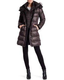 Skylar Quilted Down Genuine Fur Trim Hood Jacket