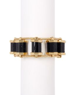 Polished Black Tourmaline Statement Bracelet