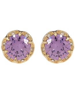 Round Purple Cz Scalloped Halo Earrings