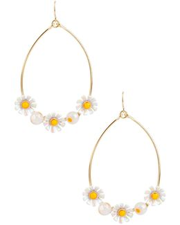 Flower Child Daisy Hoop Drop Earrings