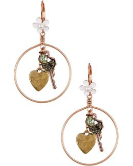 Key Charm Hoop Drop Earrings