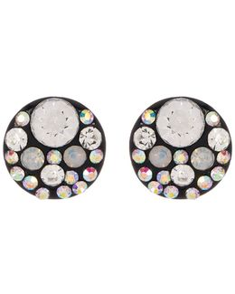 Round Rhinestone Accented Stud Earrings