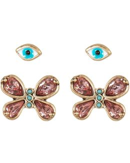 Butterfly & Eye Duo Earrings - Set Of 2