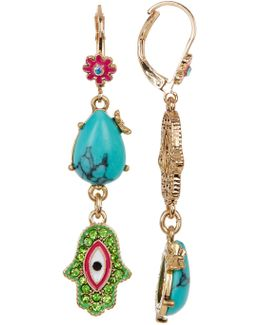 Multi Hamsa Drop Earrings