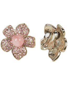 Pink Floral Pave Clip-on Earrings