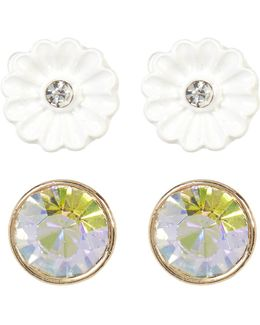 Floral & Rhinestone Duo Stud Earrings