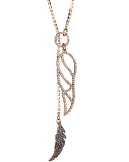 Feather Embellished Long Necklace