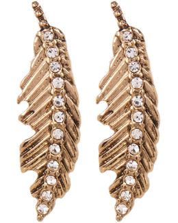Rhinestone Feather Drop Earrings