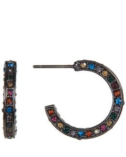 Multi-color Pave C-hoop Earrings