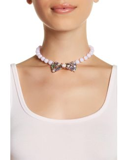 Embellished Bow Collar Glass Beaded Necklace