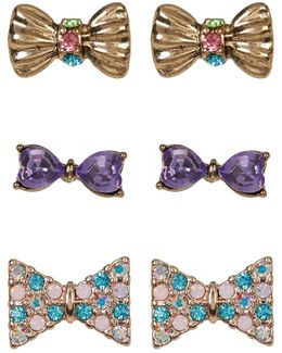 Multi-pave Bow Stud Earrings Set - Set Of 3