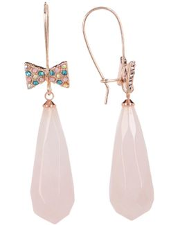 Pave Bow Drop Rose Quartz Earrings
