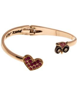 Pave Heart & Owl Hinge Cuff