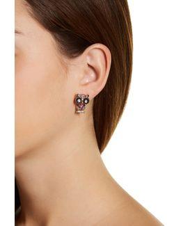 Pave Owl Front To Back Stud Earrings