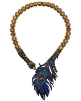 Rhinestone Peacock Statement Necklace
