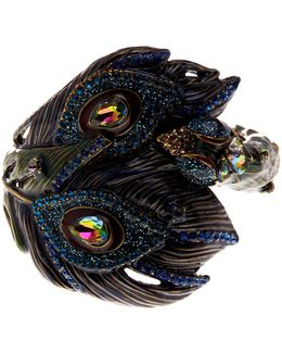 Rhinestone Peacock Bangle Bracelet