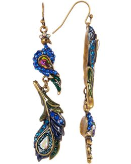 Rhinestone Peacock Feather Drop Earrings