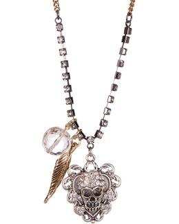 Rhinestone Skull Pendant Necklace