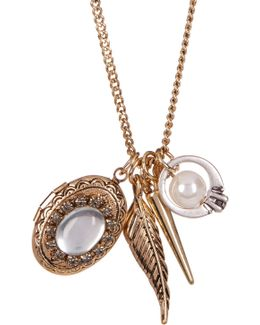 Glass Imitation Pearl & Locket Charm Necklace