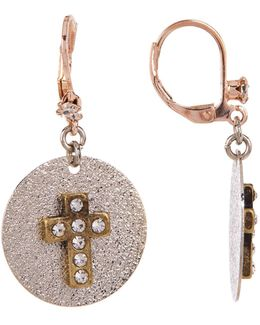 Cross Disc Drop Earrings