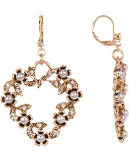 Imitation Pearl Rose Heart Drop Earrings