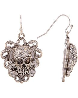 Rhinestone Skull Drop Earrings