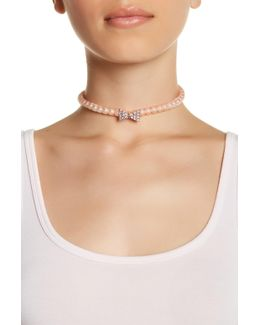 Pave Bow Beaded Choker