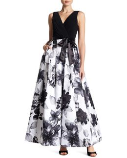 Pleated Floral Gown