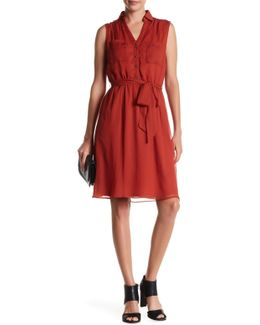 Sleveless V-neck Shirtdress