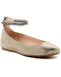 Gina Metallic Snake Embossed Flat