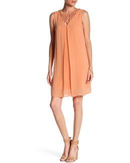 Lattice Neck Pleat Dress