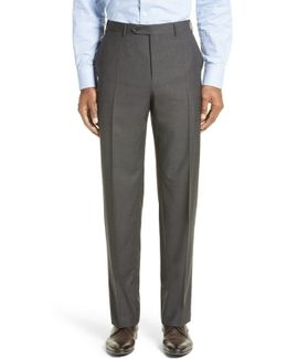 Flat Front Check Wool Trousers