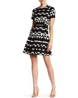 Geometric Fit & Flare Dress