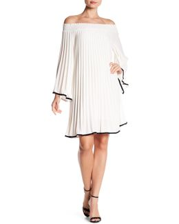 Off-the-shoulder Pleated Dress