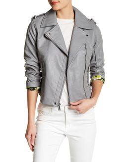 Asymmetrical Front Zip Faux Leather Moto Jacket