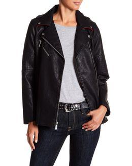 Long Faux Leather Asymmetrical Zip Moto Jacket