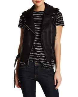 Faux Leather Asymmetrical Zip Moto Vest