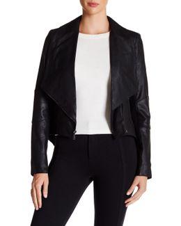 Genuine Leather Coattail Drape Front Jacket